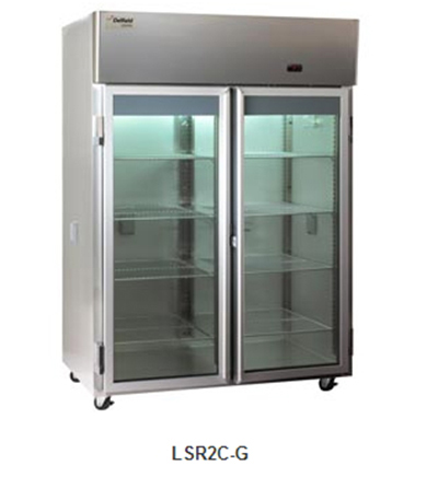 "Delfield Scientific LSR2C-G 56"" Chromatography Reach-In Refrigerator - (2) Glass Full Door, All Stainless"