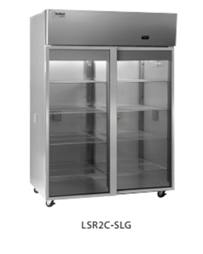 "Delfield Scientific LSR2C-SLG 56"" Chromatography Reach-In Refrigerator - (2) Glass Sliding Full Door, All Stainless"