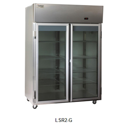 "Delfield Scientific LSR2-G 56"" Reach-In Refrigerator - (2) Glass Full Door, All Stainless"