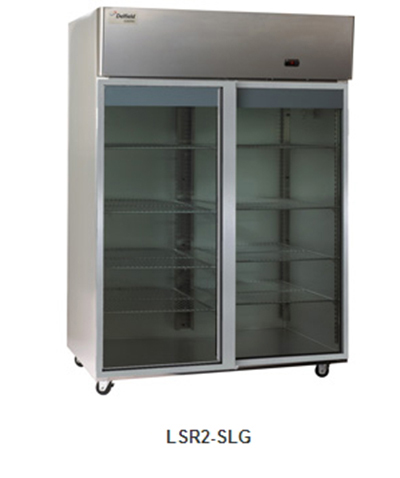 "Delfield Scientific LSR2-SLG 56"" Reach-In Refrigerator - (2) Glass Full Sliding Door, All Stainless"