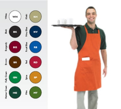 Chef Revival 601BAC-RD Full Length Bib Apron, 30 x 34-in , Red
