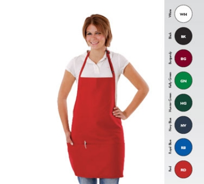 Chef Revival 612BAFH-RD Bib Apron, 28 x 27-in, 3 Pocket, Adjustable Neckband, Red