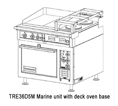 Toastmaster TRE36C5M 4803 Marine HD 36-in Range 24-in Griddle 2-Hotplate Convection 480/3 V Restaurant Supply
